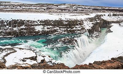 金, 冬, 季節, 滝, ∥あるいは∥, gullfoss