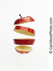 金, 切口, りんごの切れ, おいしい, 新たに, 浮く, 赤