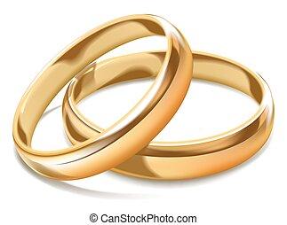 金, 単純である, リング, 隔離された, イラスト, 現実的, 結婚式, 光沢がある