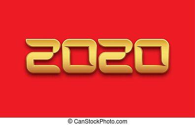 金, 印, 数, 2020, 背景, 光沢がある, 赤