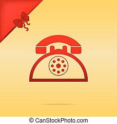 金, 印。, 電話, cristmas, バックグラウンド。, デザイン, レトロ, 赤, アイコン