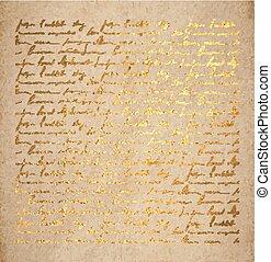 金, 古い, ペーパー, 手紙, インク, 手書き