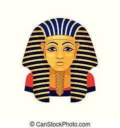 金, 古代, tutankhamun., 平ら, ファラオ, 旅行代理店, マスク, egypt., ベクトル, 広告, フライヤ, ポスター, ∥あるいは∥