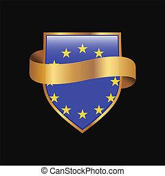 金, 合併フラグ, ベクトル, デザイン, バッジ, ヨーロッパ