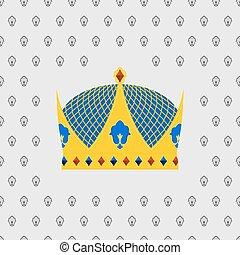 金, 国王の王冠, イラスト, ベクトル, とても, stones.