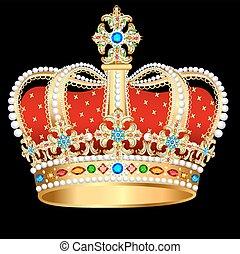 金, 国王の王冠, 石, とても, イラスト, 宝石類