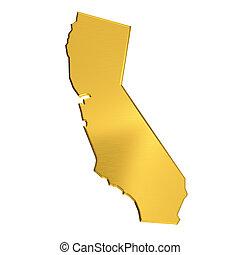金, 地図, 隔離された, カリフォルニア, 背景, 白
