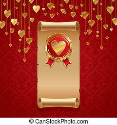 金, &, 型, バレンタイン, イラスト, ベクトル, 心, バッジ, スクロール