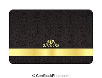 金, 型, ラベル, vip, 黒, パターン, カード