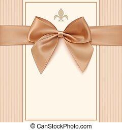 金, 型, 挨拶, 弓, カード, テンプレート, リボン
