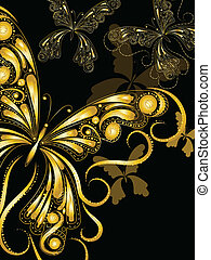 金, 型, 装飾, 蝶, ベクトル, 黒, 花