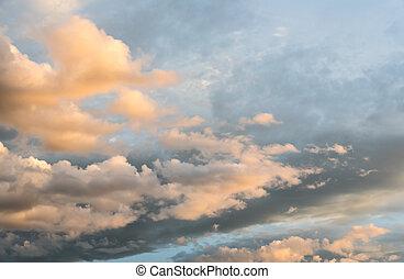 金, 太陽, 雲, 夕方, 梁, 時間, 暗い空, 白, ライト, 色