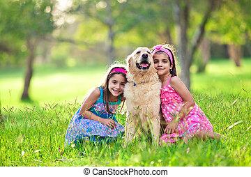 金, 女の子, 公園, 若い, 抱き合う, 2, レトリーバー