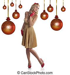 金, 女の子, 服, クリスマス, 甘い