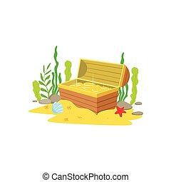 金, 宝物, 動物, 水中, 開いた, 中, 囲まれた, 卵を生む, 胸, 床, 海, 海洋, 藻, 砂