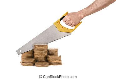 金, 巨人, コイン, 分けなさい, それ, 手, 背景, 白, つらい, 鋸, コラム