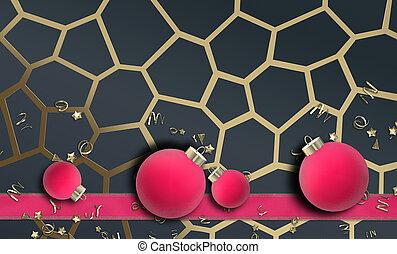 金, 年, 新しい, デザイン, クリスマス, ピンク, 黒, 休日