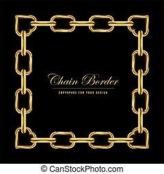 金, 広場, frame., 鎖, color., 宝石類, ベクトル, design., ボーダー, 長方形, illustration.