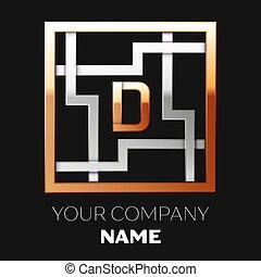 金, 形をまっすぐにしなさい, 権利, デザイン, ロゴ, あなたの, 迷路, silver-golden, ∥象徴する∥, バックグラウンド。, 黒, テンプレート, 迷路, カラフルである, シンボル, 選択, 手紙, d, 現実的, ベクトル, path.