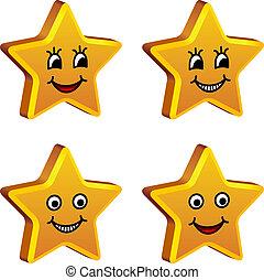 金, 微笑, ベクトル, 星, 3d