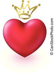 金, 愛 中心, 王冠, 優雅である, デザイン, タグ, 国王, バレンタイン, 隔離された, バックグラウンド。, 白, 3d, sticker., シンボル, 日, 女王, カード, 挨拶, idea., 現実的, 光沢がある, ∥あるいは∥