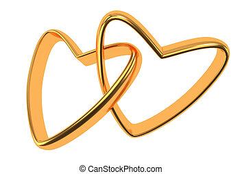 金, 戒指, 二, 被隔离, 心, 白色