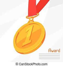 金, 抽象的, イラスト, 賞, 背景, メダル