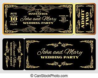 金, 招待, 黒, テンプレート, 結婚式, パーティー