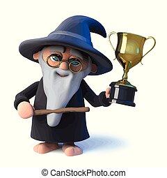 金, 持つ, 魔法使い, トロフィー, 勝たれた, 漫画, 成功, 手品師, 面白い, 3d