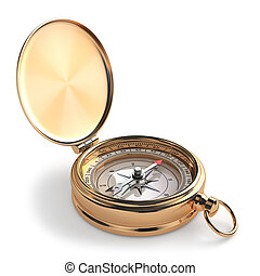 金, 指南針, 在懷特上, 被隔离, 背景。