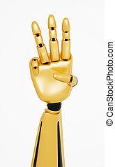 金, 提示, 3, 数, ロボティック, 手, 3d