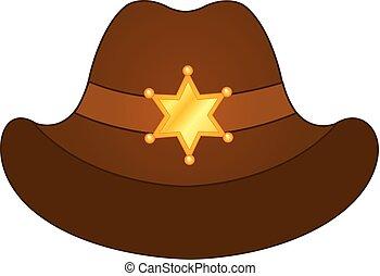 金, 星, 保安官, カウボーイ, バッジ, ベクトル, hat., 帽子