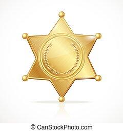 金, 星, 保安官, ベクトル, バッジ, 空