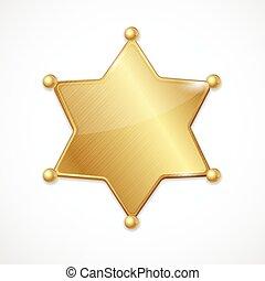 金, 星, 保安官, ベクトル, ブランク, バッジ