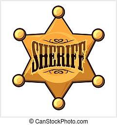 金, 星, 保安官, 隔離された, イラスト, ベクトル, 白, バッジ