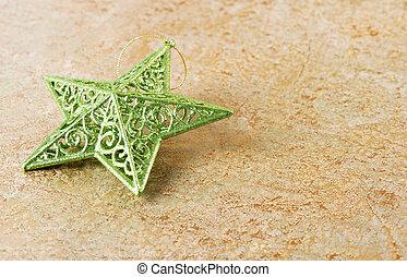 金, 星, 緑の背景, 光沢がある