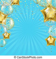 金, 星, sunburst, birthday, ポスター, 風船