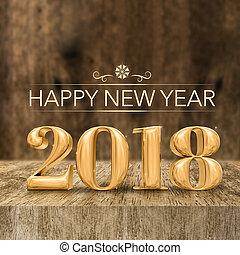 金, 晴朗, 新年快樂, 2018, 3d, rendering, 在, 木制的布洛克, 桌子, 以及, 迷離, 木頭, 牆, 賀卡, 為, 社會, media.