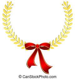 金, 月桂樹 花圈, 由于, 紅的緞帶, (vector)