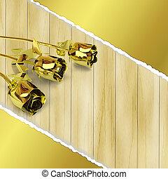 金, 木製である, 挨拶, ばら, 背景, カード