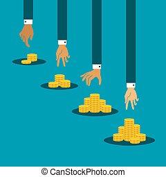 金, 概念, コイン, ベクトル, 収入, 相違, 山