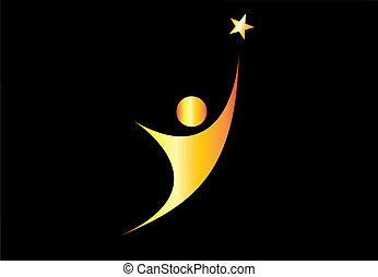 金, 概念, 金, 照ること, ゴール, &, -, 若い, 偉大さ, 目的を達しなさい, 生活, 星, シンボル, 完全さ, 狙いを定める, 達成, 成功, star., 人, 素晴らしさ, ultimate, 夢, ∥あるいは∥, 若々しい