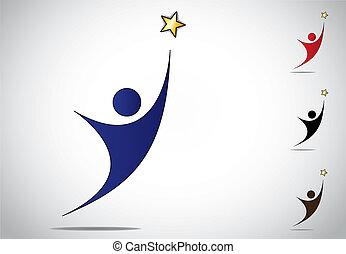 金, 概念, 高く, デザインを設定しなさい, から, -, 勝利, 意欲的, 白, 目的を達しなさい, 女, 星, カラフルである, 手を伸ばす, シンボル, イラスト, ゴール, 背景, アートワーク, 達成, 人, 成功, 人, icon., ∥あるいは∥