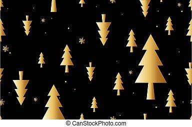 金, 構成, ベクトル, クリスマス, 最小である, 木, seamless, イラスト, pattern.