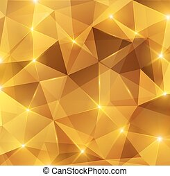 金, 水晶, 抽象的, pattern.