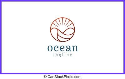 金, 波, 色, 太陽, 円, バラ, 海洋