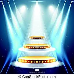 金, 演壇, スタジオ, 背景, 照明, ステージ