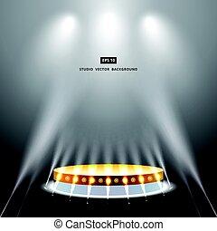 金, 演壇, スタジオ, 背景, 照明, 白, ステージ