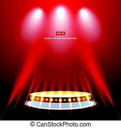 金, 演壇, スタジオ, 背景, 照明, 赤, ステージ