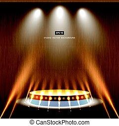 金, 演壇, 木, スタジオ, 背景, 照明, ステージ